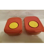 Lot of 2 Tupperware Microwave ROCK-N-Serve 1 Cup Cinnamon Red Acrylic #3... - $19.79