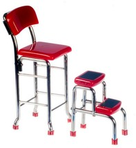 Dollhouse Miniature -  Red & Chrome Kitchen Stool with Steps - 1/12 Scale - $27.99