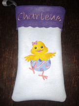 "15"" Personalized Embroidered Easter Pouch / Stocking with Embroidered Chick - $10.95"