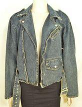 Jordache jeans jacket SZ M denim moto style vintage zippers pockets belt dark image 9