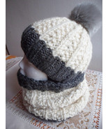 Slouchy beanie hat and Scarf Set, Slouchy Knit Hat Beanie, Womens pompon... - $49.00