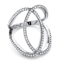 PalmBeach Jewelry .50 TCW CZ Platinum over .925 Silver Interlocking Loop... - $14.40