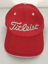 Titleist Cap Hat Strapback adjustable Golfer Red Stitched Raised Wht Let... - $20.90