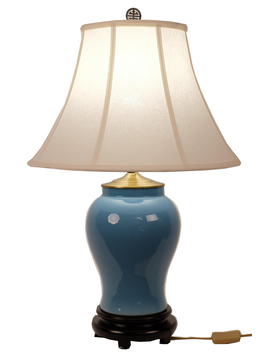 Fine Asianliving Oriental Porcelain Table Lamp Glassy Blue