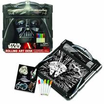 Star Wars Darth Vader Rolling Art Desk Play Set Colorful Markers & Stick... - $13.07