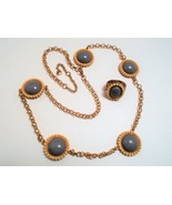 Vintage Necklace and Ring Set Gray Gold Ivory Flower Jewelry - $10.80