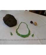 Verde Graduato Tagua Verdure Avorio Palma Dado Naturale Set Collana Orec... - $79.25