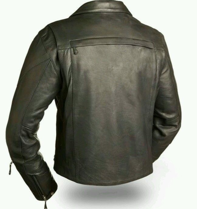 60's New Yorker Mens Distressed Leather Motorcycle Jacket Waist Belt