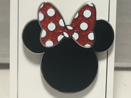 Disney Parks Trading Pin Minnie Mouse Ears with Glitter Red Bow NEW - $9.76