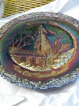 1976 Vintage FENTON Amethyst Carnival Glass Christmas Plate The Old Nort... - $9.89