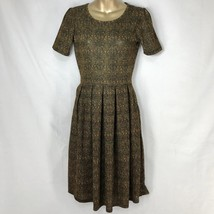LulaRoe Simply Comfortable Amelia Dress Skater Fit Flare Gold Green Red Womens S - $38.00