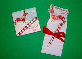 Set of 2 Dachshund Snow Holiday Note Pads and Pens - $14.00