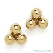14kt Solid Yellow White Gold Stud Earrings Polished 14k 14 kt 3-Ball Bea... - $51.47+