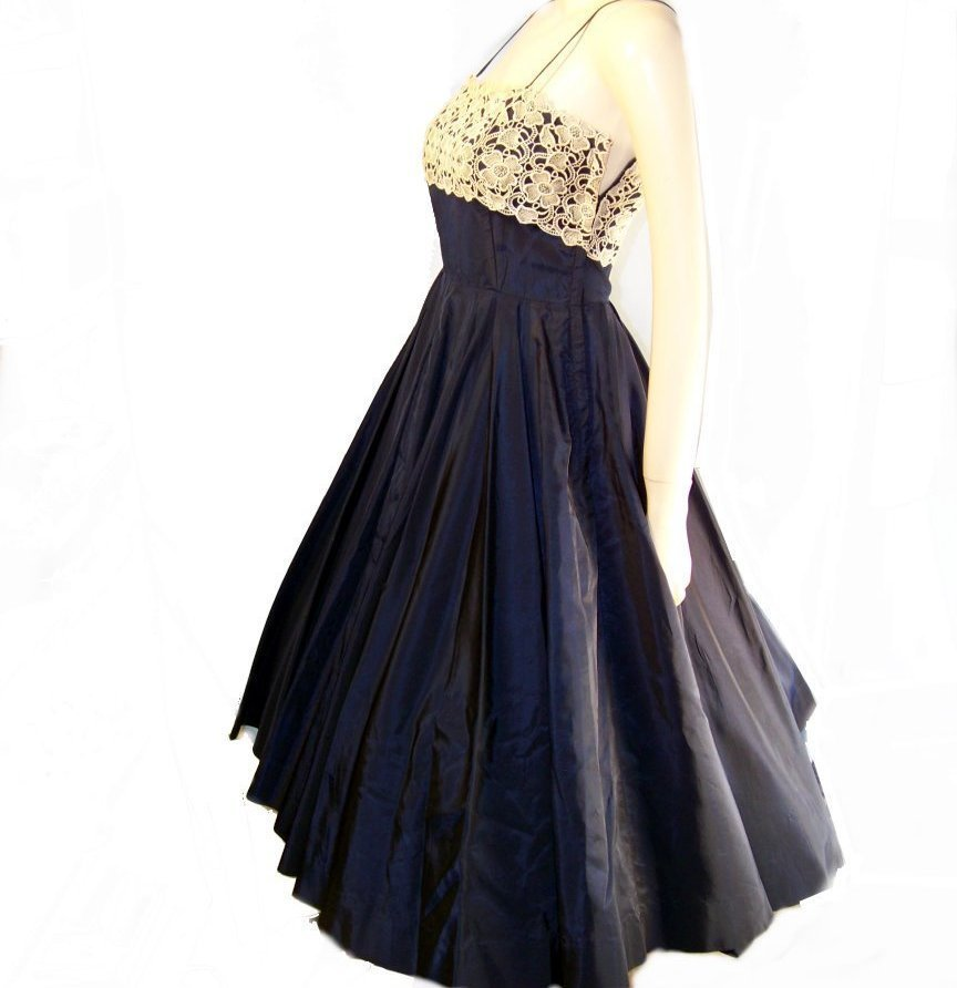 gorgeous 50s blue taffeta new look party dress XS