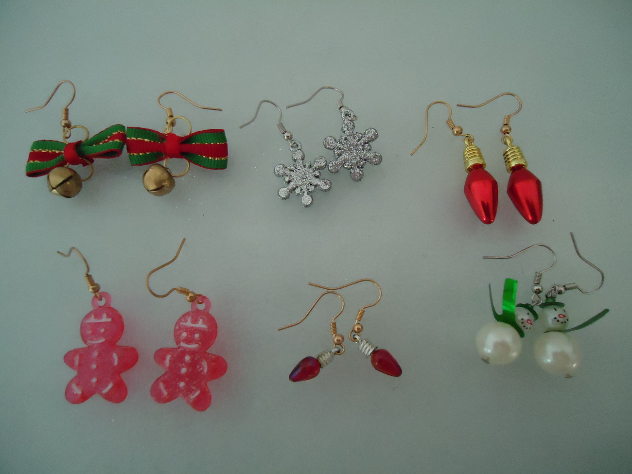 Primary image for Lot 6 Pair Christmas Pierced Wire Dangle Earrings Bells Snowflake Snowmen Others