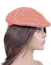 NEW BURBERRY LYDIA BURNT ORANGE SUMMER TWEED FLAT CAP PEAK HAT~LARGE - $187.19 CAD