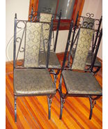 Vintage Iron 4 Dining Chairs Padded Gold/Black Damask - $125.00