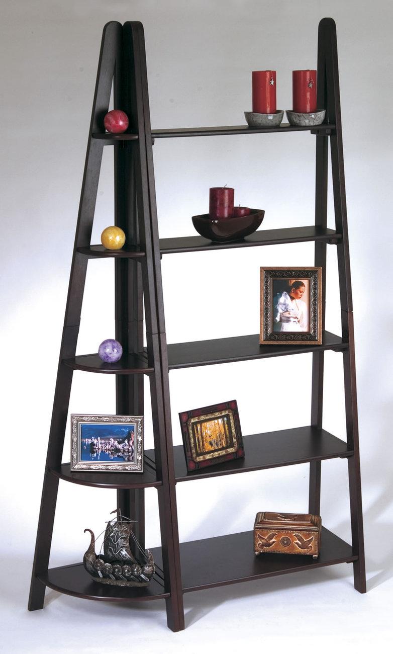 Corner Exhibition Stands Near Me : Piece set espresso wood ladder book case corner shelf