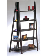 2 Piece Set Espresso Wood Ladder Book Case & Corner Shelf Display Stand ... - $189.99