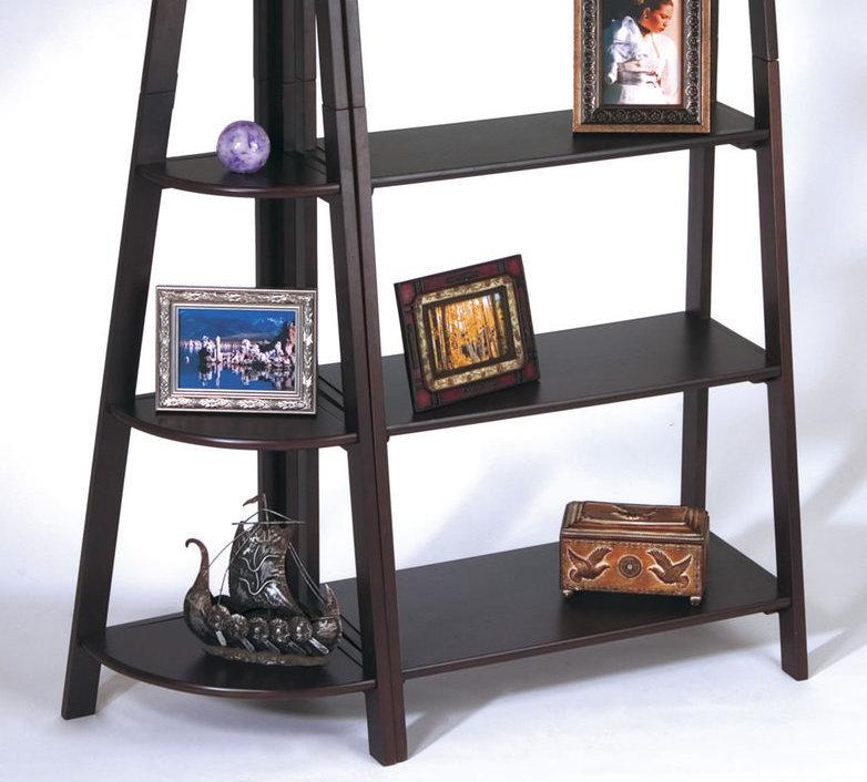 Corner Exhibition Stands Quiz : Piece set espresso wood ladder book case corner shelf