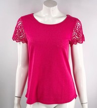 The Limited Top Size Small Hot Pink Crochet Lace Sleeve Solid Shirt Womens - $15.84