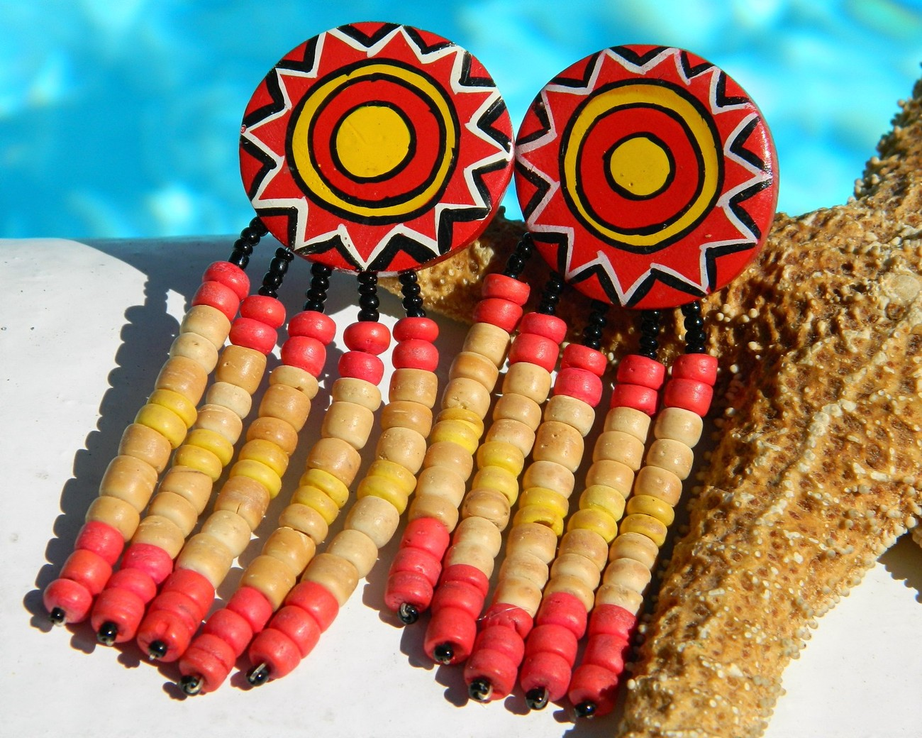 Primary image for Vintage Huge Wood Earrings Dangle Sun Beads Red Yellow Clips