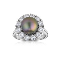 Authentic JOIA De Majorca Black Round Pearl Silver Ring With CZ Circle A... - $127.63