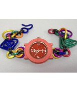 Red Round Faced Handcrafted Watch Aluminum Wristband Colorful Wristwatch - $114.00
