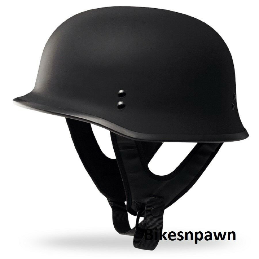 New XL Flat Black Fly Racing DOT Approved German Beanie STyle Motorcycle Helmet