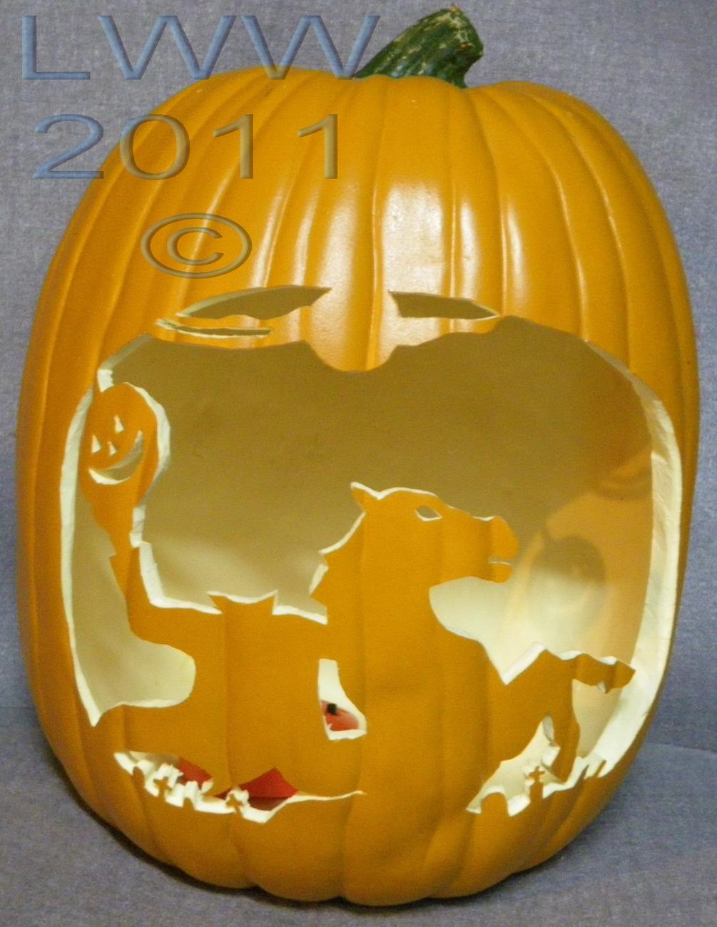 Hand carved headless horseman graveyard foam halloween