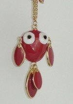 Adorable Big Eyed Red Enamel Fish Character Necklace with Bead Charms - £11.14 GBP