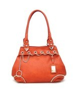 Orange Super Soft Faux Leather Gold Chain Trim Tote Shopper Handbag Purse - $41.65
