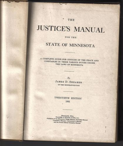 BOOTH'S JUSTICE'S MANUAL,1931;20th EDITION,BY JAMES D. SHEARER,623 PAGES