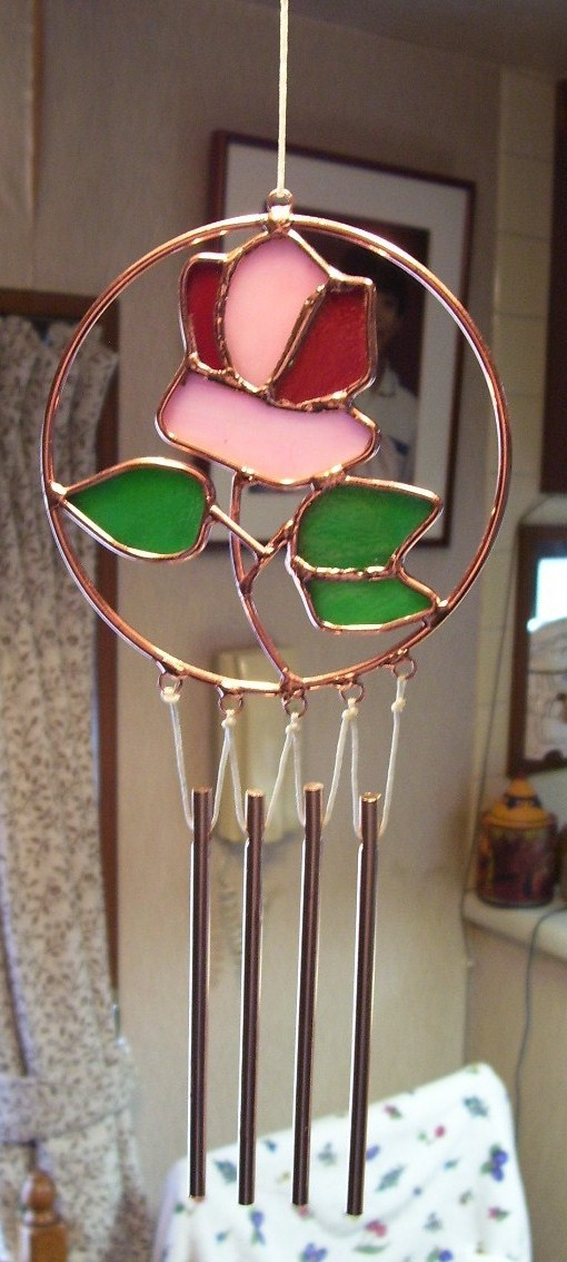 Rose stain glass windchime  3