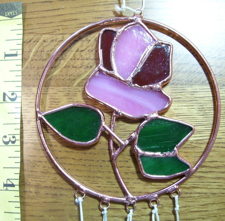 Stained Glass Rose Flower Windchime Nice Sound OOAK!