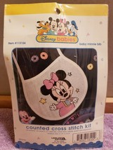 NIP Cross Stitch Kit Disney Babies Baby Minnie Mouse Bib #113124 Free Ship - $14.99