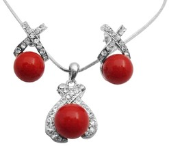 Best Deals On Shell Pearls Pendant Earrings Set Beautifuly Red Color - $22.48