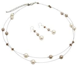 Jewelry To Match with Cream & Mocha Cream Bronze Brown Crystal Set - $28.33