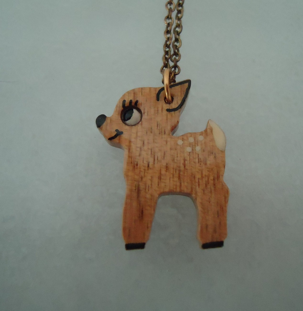 Primary image for Wooden Handcrafted Handpainted Bambi Fawn Pendant