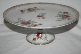 Vintage Lefton China Japan 20406 Pink Tea Rose Pedestal Cake Plate   #1968 - $34.00