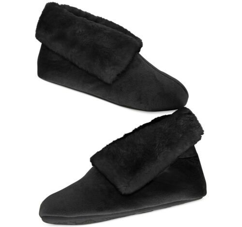 Primary image for Charter Club Microfiber Velour Boot with Faux Fur Slippers (Black, Xlarge)