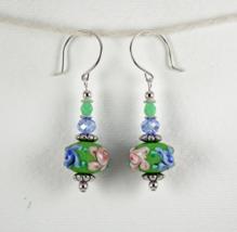 Handmade Green Blue Pink Lampwork Glass Bead Flower Earrings - $18.00