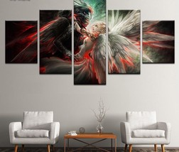 Large Framed Angels Good vs Evil 5 Piece Canvas Wall Art Home Decor - $129.99