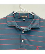 Peter Millar Summer Comfort Men's Golf Polo Blue Red Striped Large - $32.64
