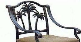 Bar height patio set round table 5pc Palm tree cast aluminum furniture barstools image 6