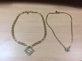 Lot 2 Park Lane Parklane Signed Gold Tone Crystal Accent Choker Necklace - $13.99