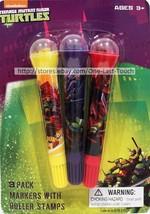 TEENAGE MUTANT NINJA TURTLES 3pc Markers w/Roller Stamps Set YELLOW+PURP... - $2.95