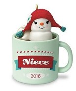Hallmark Niece Keepsake Christmas Ornament 2016 Dated Marshmallow Snowma... - $6.13