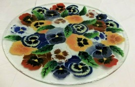 """Peggy Karr Fused Glass Wild Flower Tray  13.75"""" Round Signed - $21.77"""