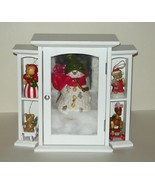 White Wood Glass Cabinet Christmas Ornaments Ha... - $25.00